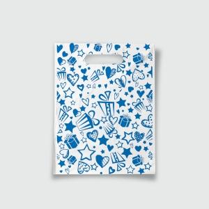 Пакет с прорезной ручкой 15*20 Подарки синий