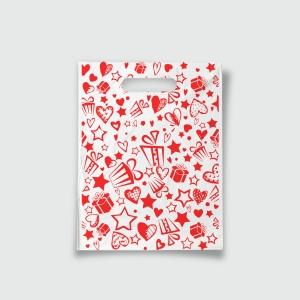 Пакет с прорезной ручкой 15*20 Подарки красный