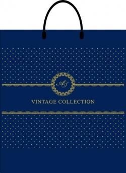 Пакет с пластиковой ручкой 40х43 vintage синий
