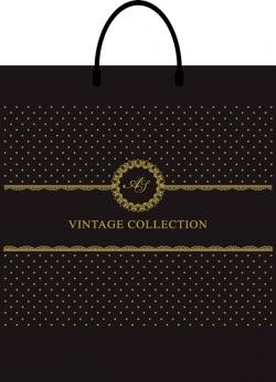 Пакет с пластиковой ручкой 40х43 vintage черный
