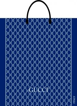 Пакет с пластиковой ручкой 40х43 Гучи синий