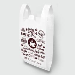"""Пакет типа """"майка"""" 30х55 Кофе белый Люкс"""