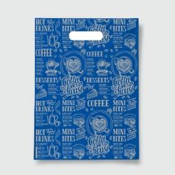 Пакет с прорезной ручкой 40*50 Кофе синий
