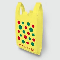 """Пакет типа """"майка"""" 30х52 Горохи желтый"""