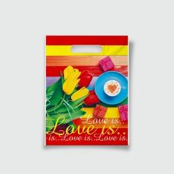 Пакет с прорезной ручкой 15*20 Love is