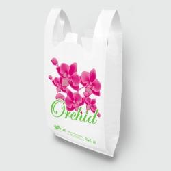 """Пакет типа """"майка"""" 30х52 Орхидея белый"""