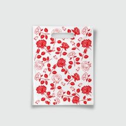 Пакет с прорезной ручкой 15*20 Розы красный