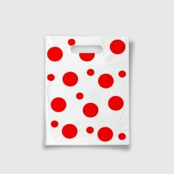 Пакет с прорезной ручкой 15*20 Горохи красный