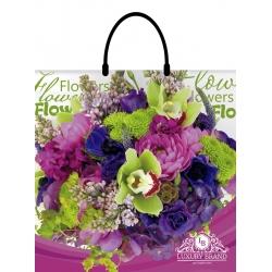 Пакет с пластиковой ручкой 40х43 LUX Цветы