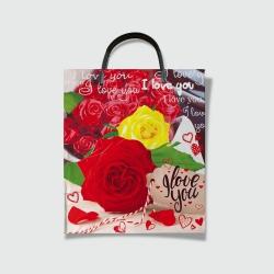 Пакет с пластиковой ручкой 30х35 Лав розы